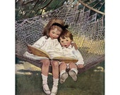 Reading in the Hammock Greeting Card - Repro Jessie Willcox Smith
