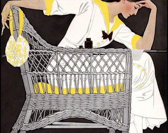 Woman Writes Love Note - Repro Greeting Card Coles Phillips