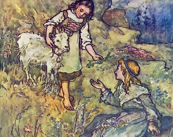 Goat Girl Heidi by Lizzie Lawson Mack Repro Greeting Card