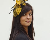 Yellow Black tartan Dutch couture minihat with leaves and feathers on aliceband