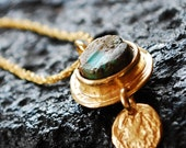 Gold Necklace with Turquoise Pendant , gold fill chain, unique and beautiful, rough turquoise, pretty necklace, earthy