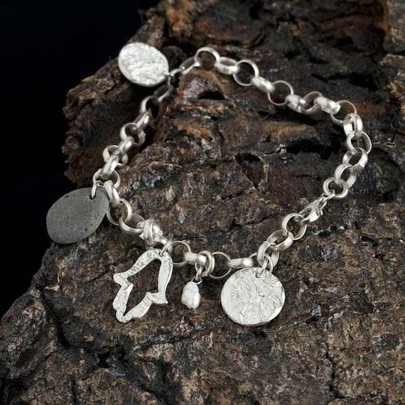 Hamsa Charm Bracelet, freshwater pearl, stone and silver charms,charm bracelet,contemporary,gift for teen,Judaic,hanukkah gif
