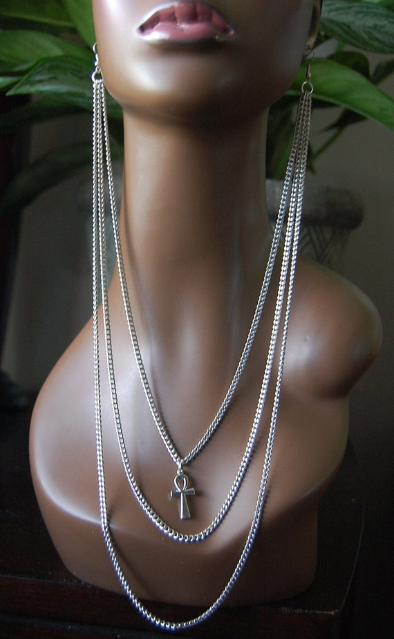 Afrocentric Earlace, Earring Necklace, Ankh Jewelry