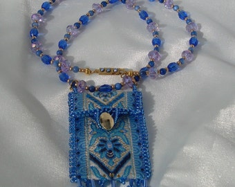 Blue Hand Beaded Amulet Bag Necklace