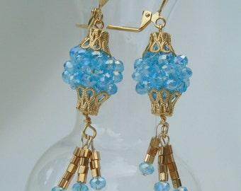 Aqua Crystal Beaded Bead Earrings