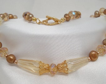 Pale Yellow Crystal and Pearl Necklace and Earrings
