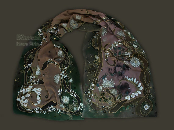 Fairy scarf  in green beige white and brown, Art Nouveau Ar Nuovo, fantasy elven clothing, interlace, flowers