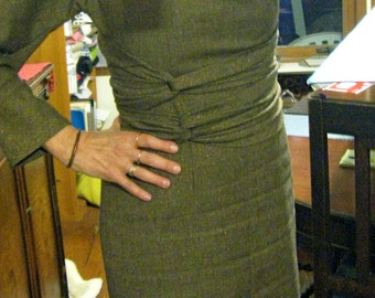 Custom Skirt Becomes Wrapping Dress, Stretchy and Belted Body Conscious Dress