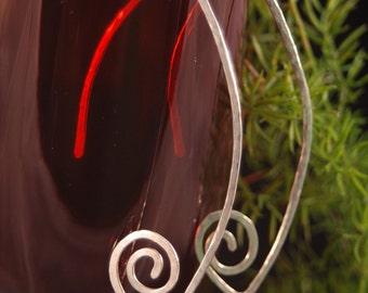 Drop Spiral Earrings - Sterling Silver - handmade