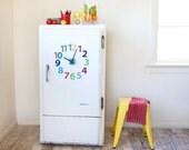 Magnetic fridge clock. '1-12 numbers' design - choose colours