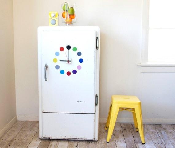 Magnetic fridge clock. Multicolour dots design - choose colours