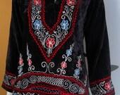Vintage Black Crushed Velvet Hippie Indian Embroided Blouse