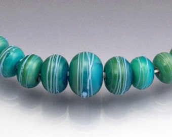 Turquoise lampwork glass bead set Aqua bead set Round glass beads Round lampwork Blue lampwork set  cocoon round beads by Anne Londez SRA