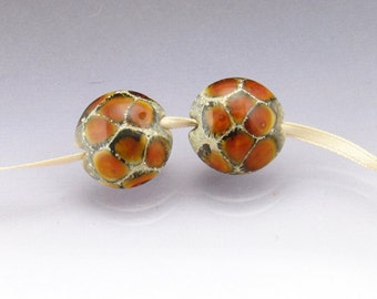 Lampwork glass bead pair lentil orange bead caramel sea rocks Anne Londez SRA OOAK