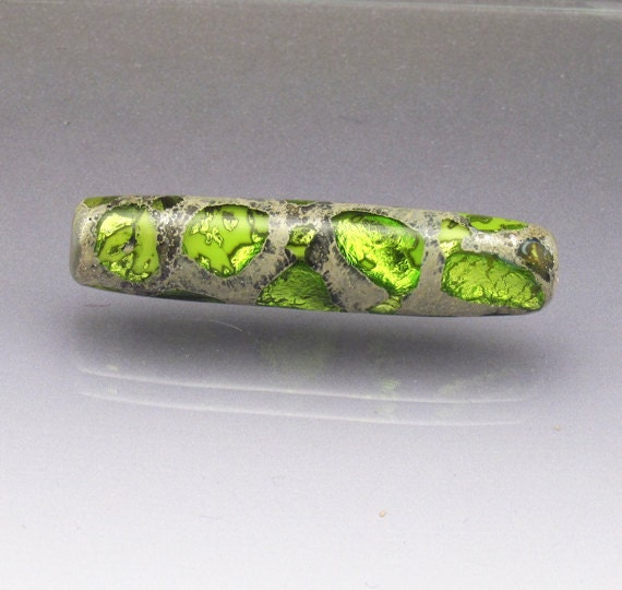 Green lampwork glass focal bead Green focal bead Long green bead Green glass bead Handmade green bead Sea Rocks  Anne Londez SRA OOAK