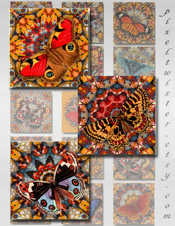 Butterfly Mandala Squares Instant Download Resin Glass Scrabble Tile Pendants 1 and 2 Inch Digital Images JPEG (JU-202)