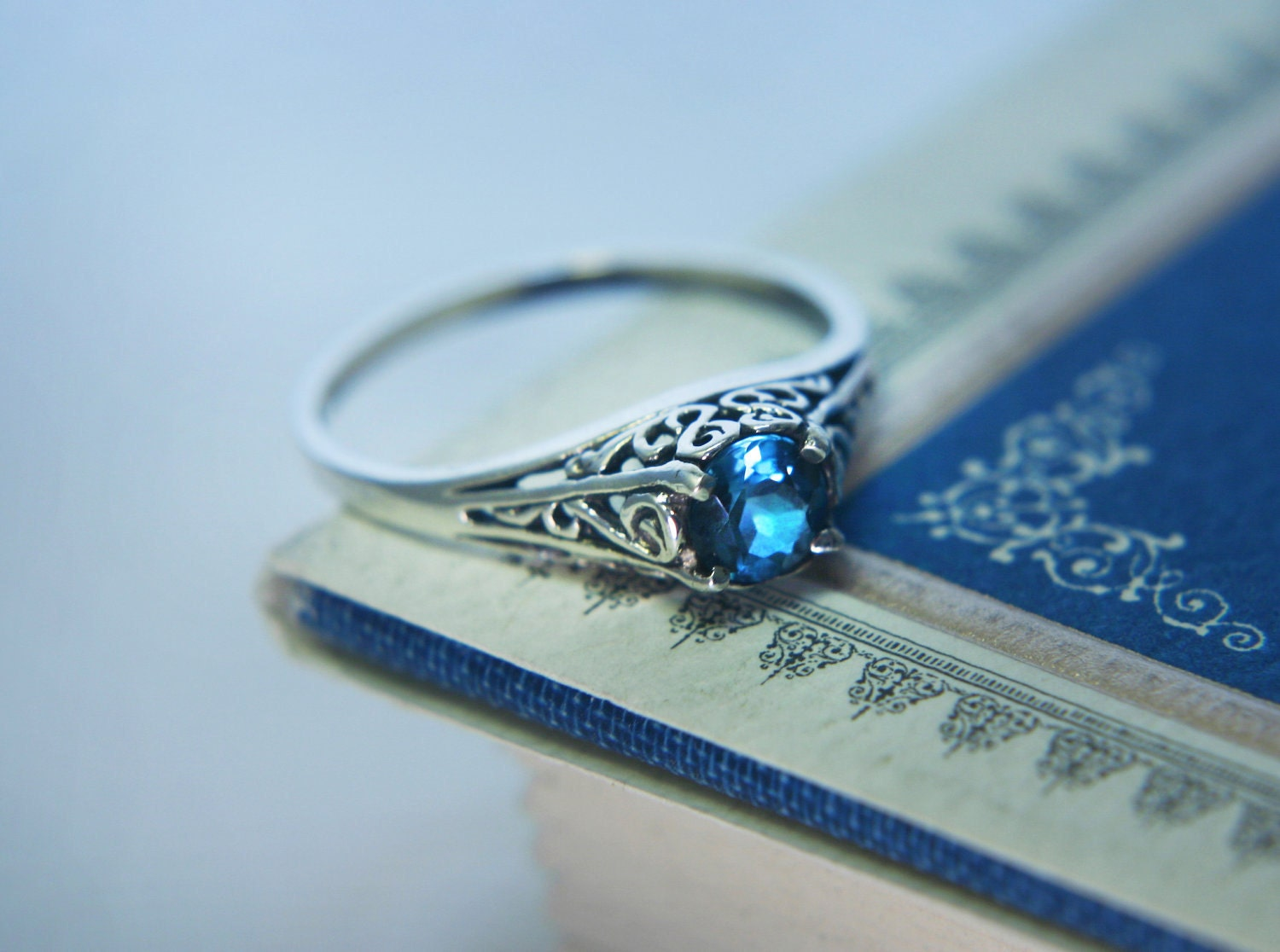 Filigree Blue Sapphire Promise Ring in Sterling by moonkistdesigns