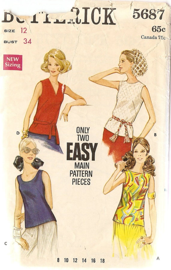 1960s Sleeveless Top Pattern Butterick 5687 bust 34 Vintage Sewing Pattern Sleeveless Tops, Complete