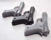 Silver Gun Soap - 4 silver guns - Pistol Soap  - vegan soap - man soap - guy gift - military soap