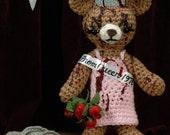 "Carrie Bear - CUSTOM crocheted ""antigurumi"" Prom Queen"