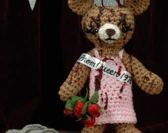 "Carrie Bear - CUSTOM crocheted ""antigurumi"" Prom Queen"