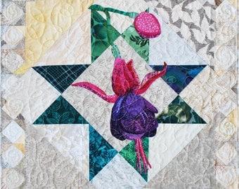 Quilt Pattern - PDF - Fuchsia Applique Art Quilt - Immediate Download