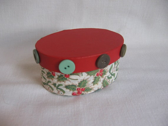 Christmas Gift Box Paper Mache Embellished Holiday Gift Box Holly and Mistletoe Red and Green Gift Box