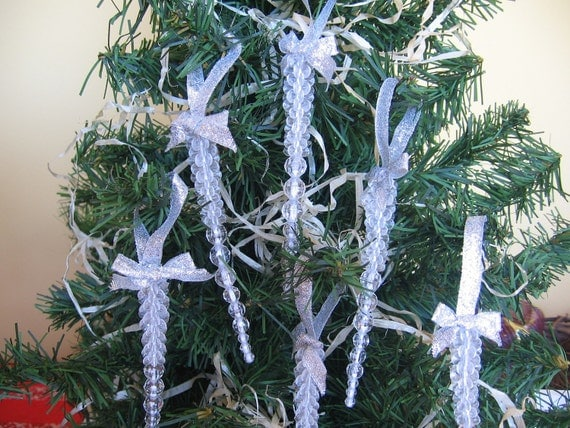 Set of 6 Clear or Gold beaded tree icicles with ribbon hangers and bows Set of 6