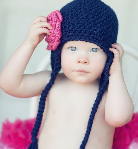 Girls Earflap Hat in Navy Blue with Hot Rose Flower - newborn, baby, toddler, child sizes- colors customizable
