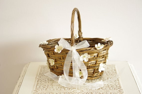 Flower Girl Basket with ivory flower details - Rustic and romantic