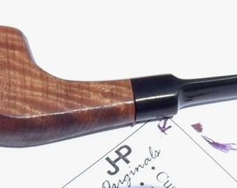 Custom Straight Tobacco Pipe, Figured Satin Wood - Free Shipping
