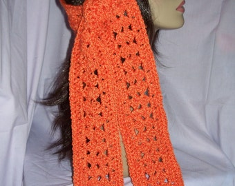 Orange Tangerine Lacy Crochet Scarf - FREE SHIPPING to US and Canada