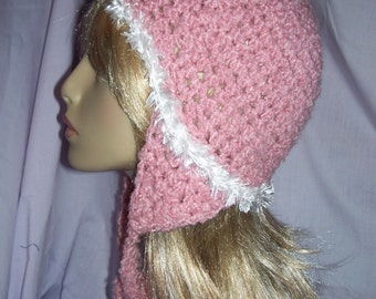 Pink Crochet Earflap Hat - Free Shipping to US and Canada