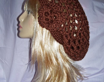 Chocolate Brown Double Strand Custom Made Crochet Slouch Hat with Removable Flower FREE SHIPPING to US and Canada