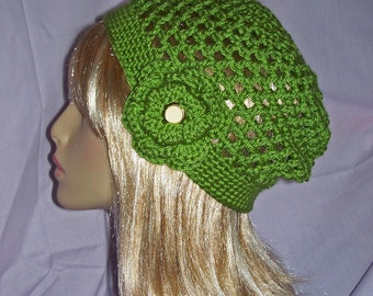Olive Green Crochet Slouchy Beanie Hat with removable Flower - FREE SHIPPING to US and Canada