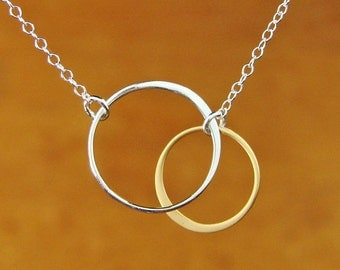 SILVER AND GOLD Circles Pendant on Silver Chain Large, Mother's Day Gifts,wedding necklace, bridesmaids gift