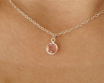 Light Rose Crystal Drop Pendant Necklace in Sterling Silver