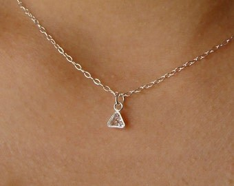Triangle CZ Drop Charm Necklace on Sterling Silver Gift Necklace