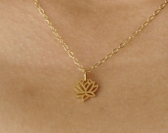 Lotus Necklace gold lotus necklace Bridal Shower Mother's Day Gifts bridesmaid gift, wedding gift tiny lotus om lotus necklace