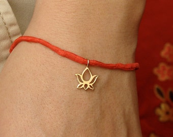 Boho Jewelry Silk Bracelet with Bronze Lotus Blossom Charm bohemian jewelry - GREAT GIFT