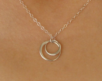 Entwined Circles Pendant Necklace in Sterling SIlver, interlocking circles, bridesmaid, wedding, bridal gift, linked forever,