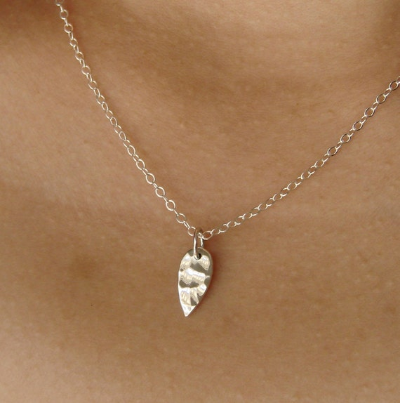 Hammered Flat Petal Charm Necklace on Sterling Silver