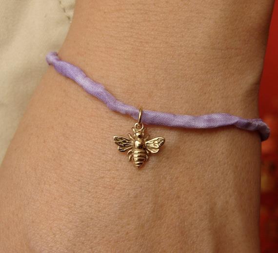 Silk Bracelet with Honeybee Bumble Bee Charm - GREAT GIFT