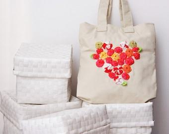 White tote Canvas bag Colorful heart Shoulder bag Medium purse, linen lining, flower embellishment, Size 11.8'/30cm x 11.8'/30 cm