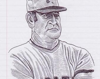 Danny Murtaugh Original Pen & Ink Drawing