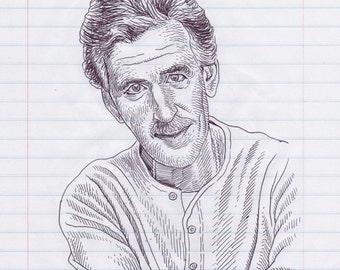 Dennis Farina Original Pen & Ink Drawing