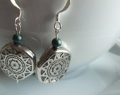 Aztec style silver charms with deep sea green bead Earrings