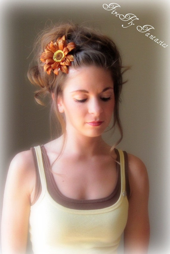 Earthy Sunflower Hair clip brooch Fall Wedding Bridesmaids Bridal Party