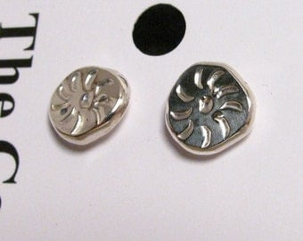 Hand Stamped Silver Stud Earrings, Pinwheels