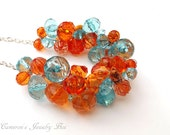 Orange Blue Necklace, Chunky Statement Necklace, Beaded Wire Crochet, Orange and Blue Jewelry, Bridesmaid Necklace